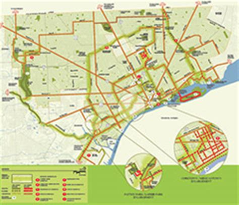 map outlines greenways progress  detroit