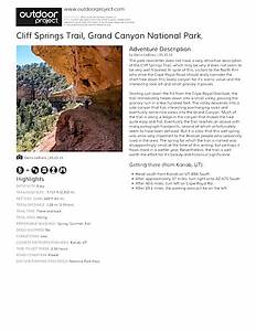 Cliff Springs Trail Field Guide