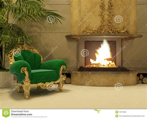 royal armchair  fireplace  luxury interior stock