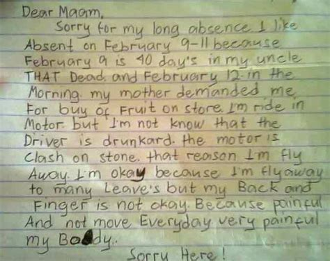 pinoy kid writes hilarious excuse letter   absent