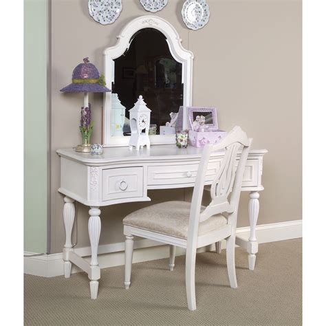 bedroom white tsained wood vanity table with