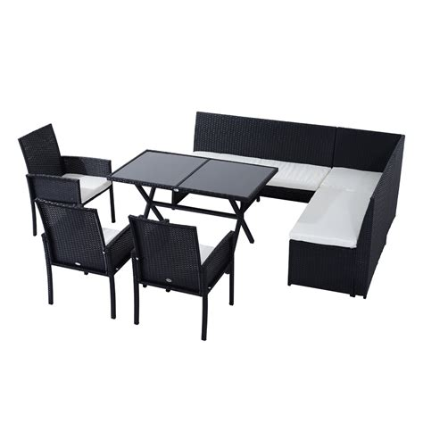 sofa and table set outsunny 7pcs outdoor rattan wicker sofa garden sectional patio furniture set chairs and