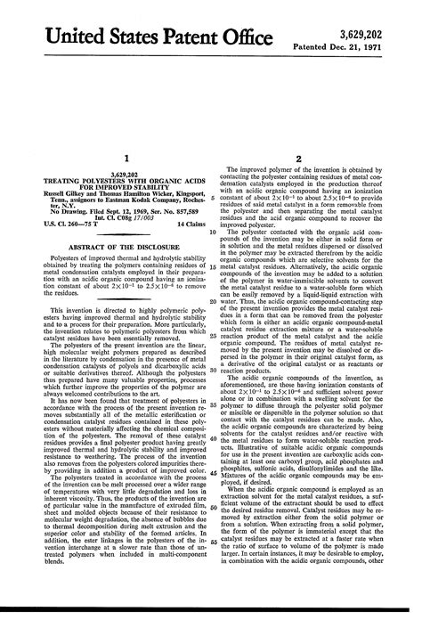 brevet us3629202 treating polyesters with organic acids