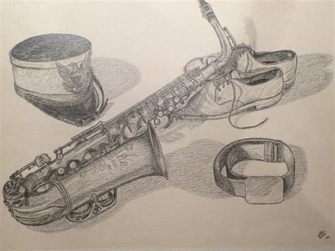 Original Pencil Drawing Of Saxophone Marching Band Hat And