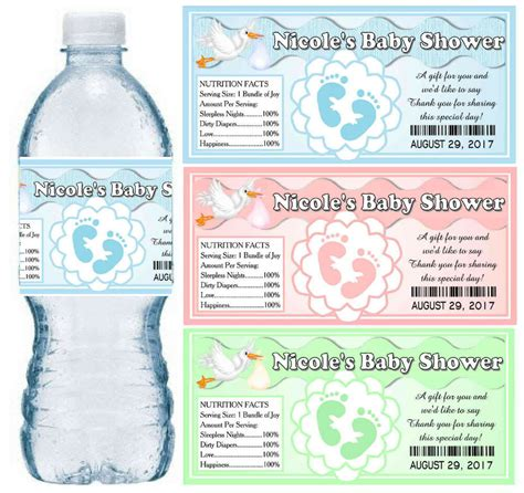 printable water bottle labels for baby shower 30 personalized baby shower water bottle labels glossy