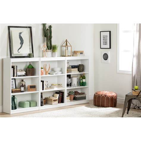 South Shore White Bookcase by South Shore 3 Shelf Bookcase In White 7250766c