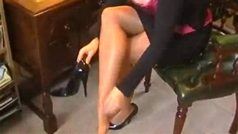 Big Tits British Secretary In Glossy Tan Pantyhose Porn Videos