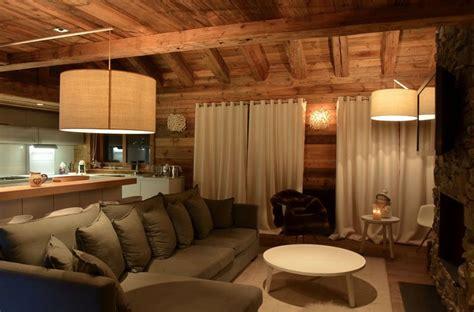 canape gris deco modern chalet interior design cosy neve design