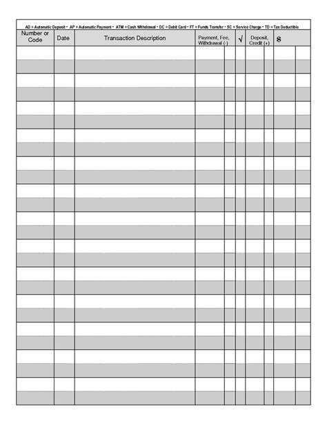 free printable checks template 7 best images of free printable check transaction register printable check register pdf free
