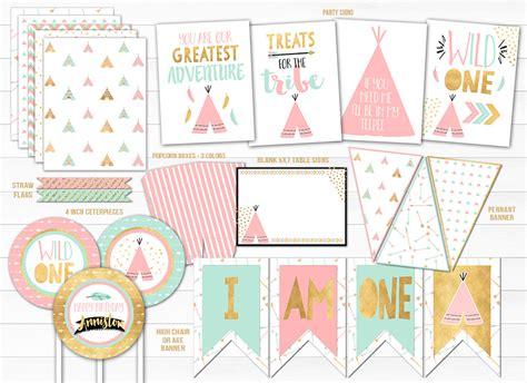 printable pink mint  gold wild  tribal birthday