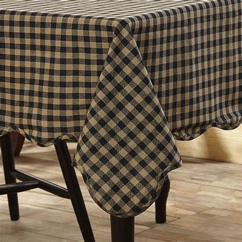 Black Check Rectangle Tablecloth Retro Barn Country Linens