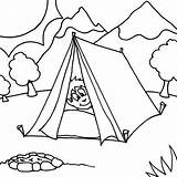 Tent Coloring Camping Boy Sleeping Sheet Printable Camp Coloringsun Template Getcolorings Sheets Children Bear Printer Button Through sketch template