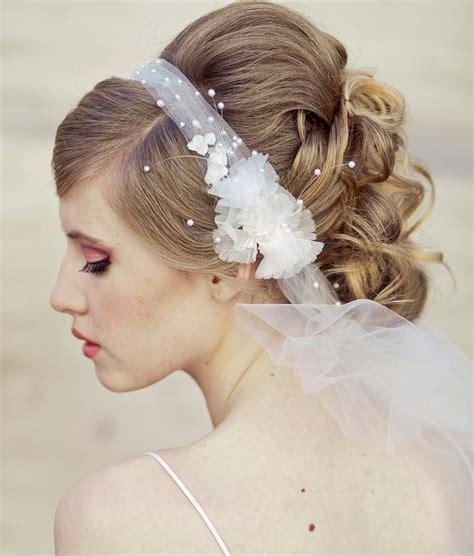wedding veil tie headband  net  vintage flowers