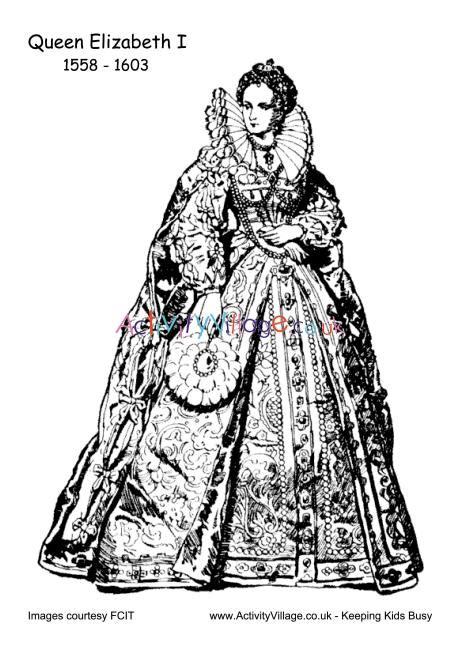 elizabeth  colouring page