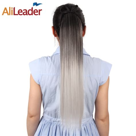 Alileader Ombre Long Straight Clip In Ponytail Hair