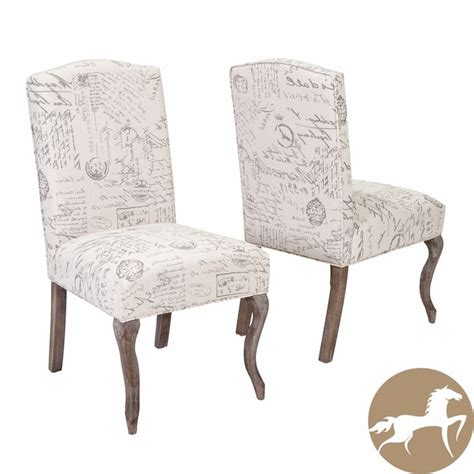 crown top french script beige fabric dining chair set    christopher knight home