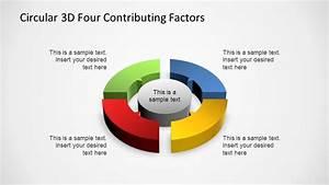 Circular 3d Four Contributing Factors Powerpoint Diagram