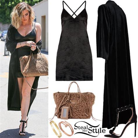 Khloe Kardashian: Black Satin Dress, Velvet Coat | Steal ...