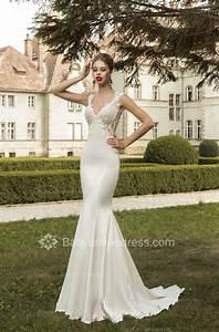 V-Neck Satin Mermaid Wedding Dresses 2020 Lace Sleeveless ...