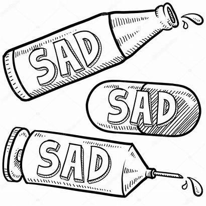 Depression Drugs Alcohol Drogen Sketch Doodle Bottle