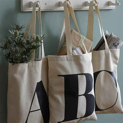 Natural Cotton Initial Tote Bag By Alphabet Bags ...