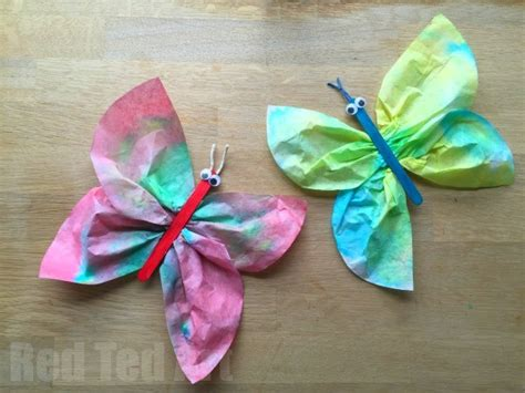 35 butterfly crafts ted 228 | Coffee Filter Butterflies 600x450