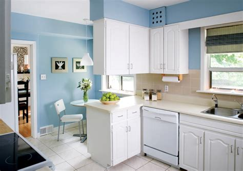 interior design small kitchen blue wall color with white cabinet for small
