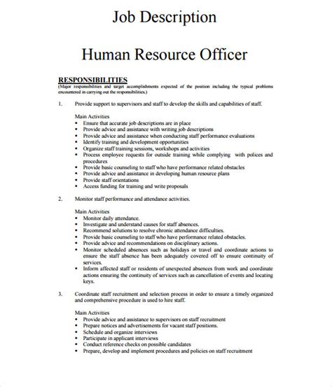 Officer Description Template 21 Description Templates Free Word Pdf Documents
