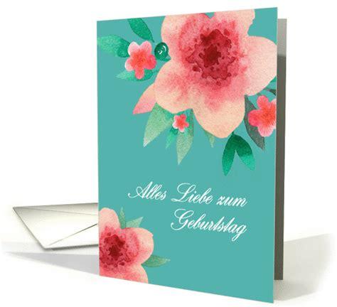 happy birthday  german bright flowers card