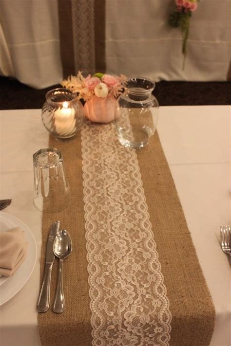 burlap lace table runner wedding12x 144 by