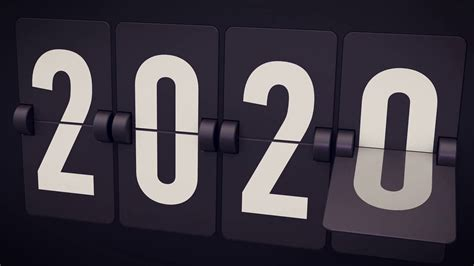 year concept set digital countdown timer flip
