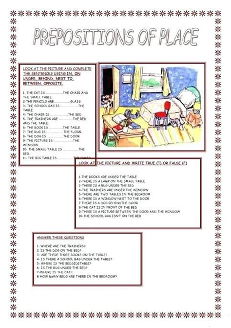 preposition  place worksheets   answers