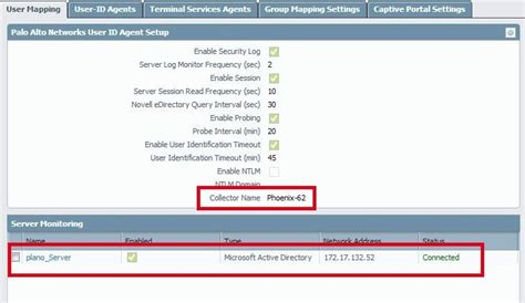 user collector mapping userid verify configure enabled configured server directory active been os pan