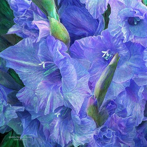 gladiolus moods lavender blue mixed media by carol cavalaris