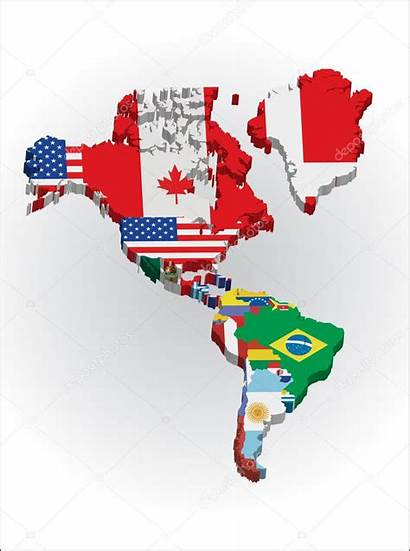 America North South Continent Countries Outline American