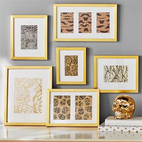picture frame gallery set gallery frames set of 6 gold pbteen 4184