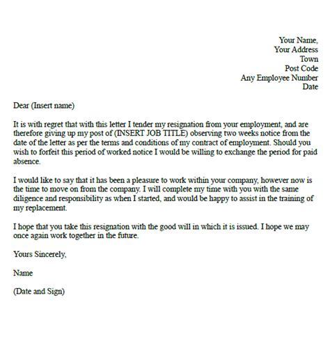 week resignation letter samples formal resignation