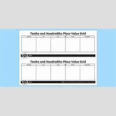 Tenths And Hundredths Place Value Grid  Year, 4, Four, Y4, Ks2