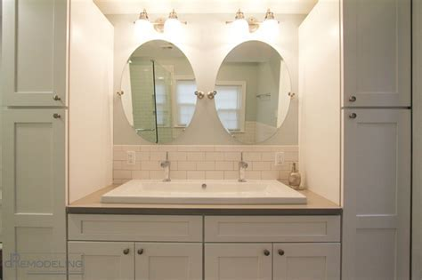 White Shaker Style Double Vanity   Transitional   Bathroom