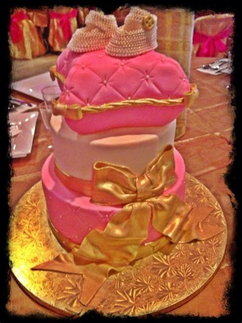 pink and gold baby shower cake pink gold baby shower cakecentral