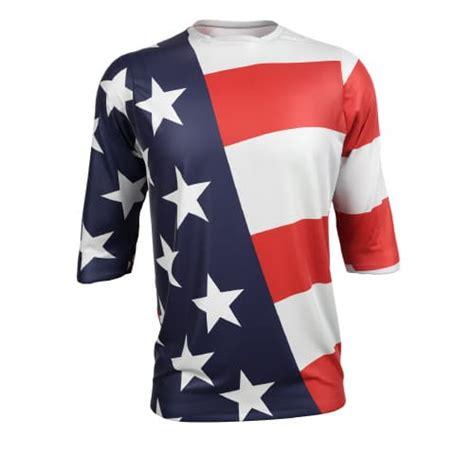 personalised motocross jersey american flag custom mountain bike jersey 3 4 sleeve