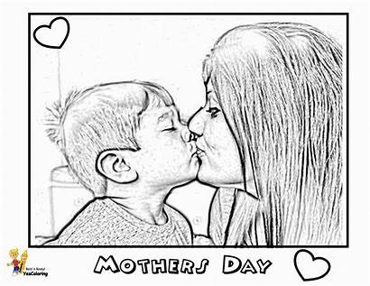 Coloring Mother Pages Mothers Mom Son Loving