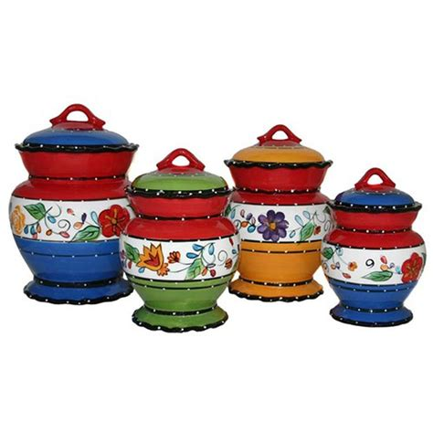 4 kitchen canister sets viva collection deluxe handcrafted 4 piece kitchen canister set ebay