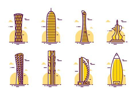 qatar skyskrapor vektor ladda ner gratis vektorgrafik