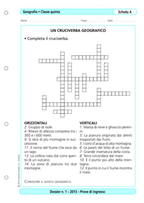 Test Ingresso Scuola Primaria - prove d ingresso geografia classe 5 la vita scolastica