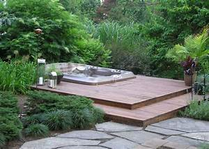outdoor hot tub landscaping ideas with deck home With whirlpool garten mit bonsai starter