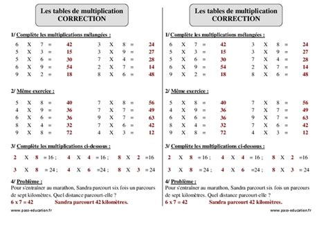 revision table de multiplication ce2 tables de multiplication ce2 exercices 224 imprimer pass education