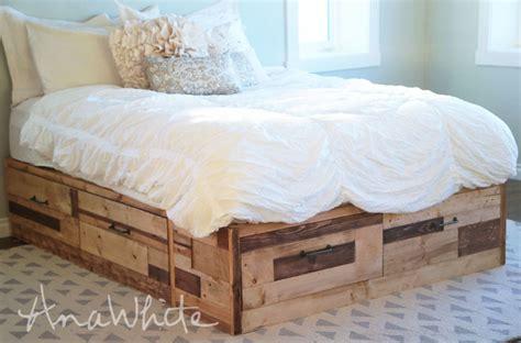 brandy scrap wood storage bed  drawers king ana white