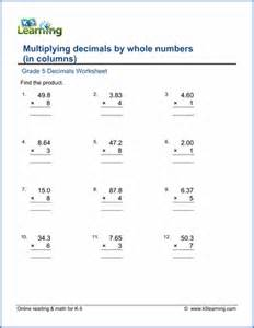 Multiplying Decimals by Whole Numbers Worksheet