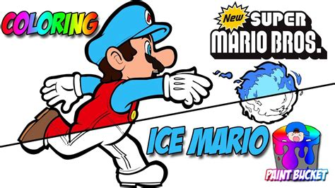 Coloring was so much fun and can develop children's creativity. New Super Mario Bros Coloring Book - Ice Mario Transformation Coloring Page - YouTube